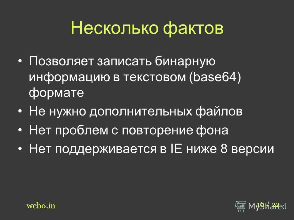 Несколько фактов Позволяет записать бинарную информацию в текстовом (base64) формате Не нужно дополнительных файлов Нет проблем с повторение фона Нет поддерживается в IE ниже 8 версии 16 / 22 webo.in