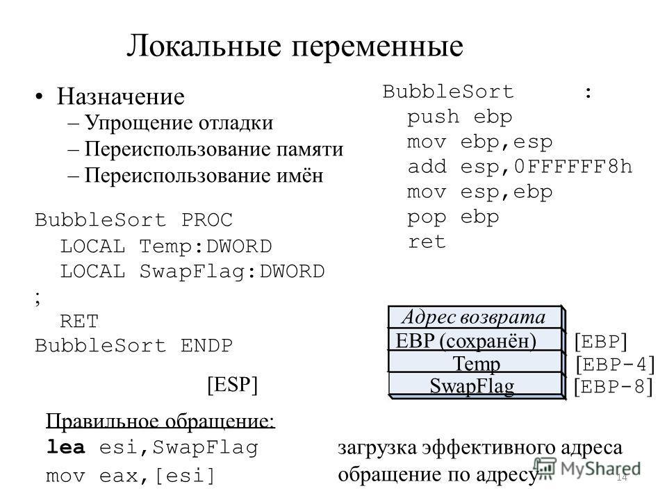 Локальные переменные Назначение – Упрощение отладки – Переиспользование памяти – Переиспользование имён BubbleSort PROC LOCAL Temp:DWORD LOCAL SwapFlag:DWORD ; RET BubbleSort ENDP [ESP] Правильное обращение: BubbleSort : push ebp mov ebp,esp add esp,