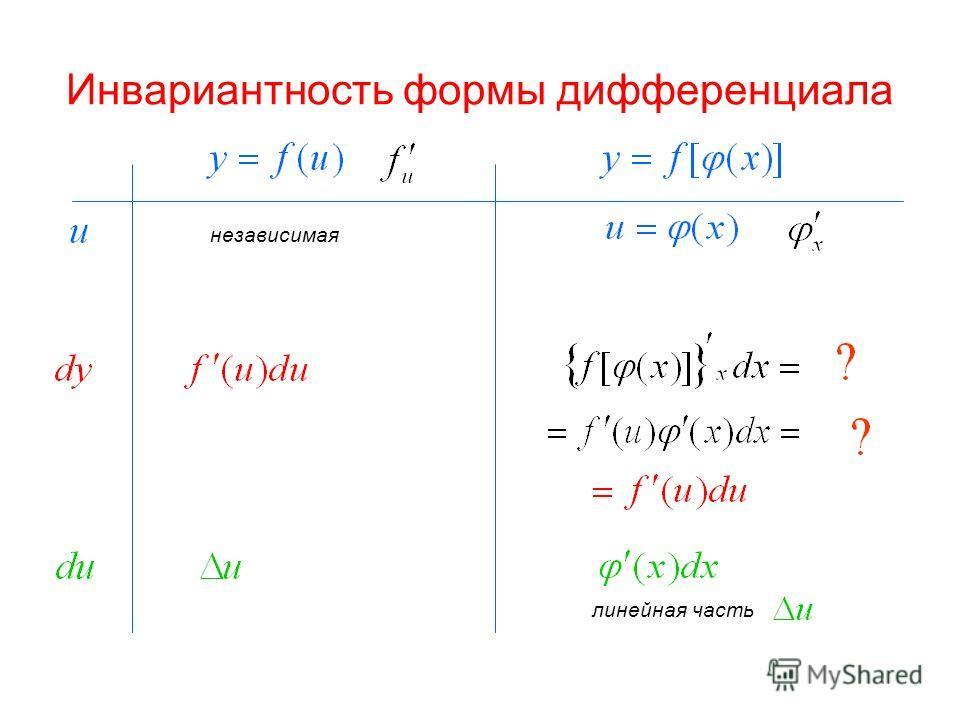 Инвариантность формы дифференциала независимая линейная часть