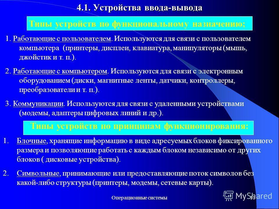 Операционные системы11 4.1. Устройства ввода-вывода Типы устройств по функциональному назначению; 1. Работающие с пользователем. Используются для связи с пользователем компьютера (принтеры, дисплеи, клавиатура, манипуляторы (мышь, джойстик и т. п.).