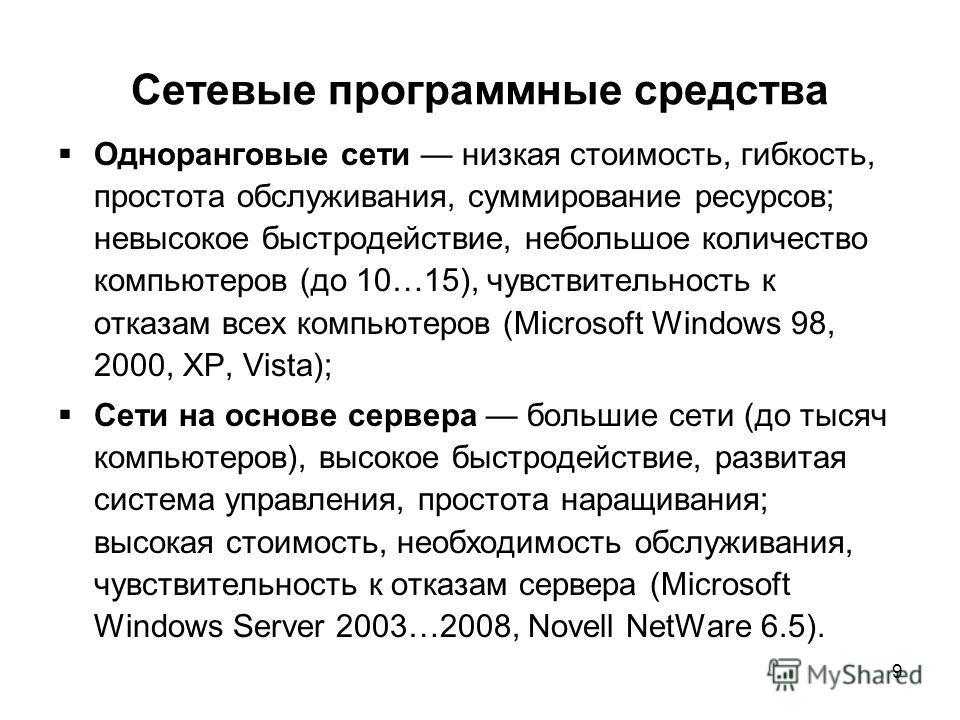 9 Сетевые программные средства Одноранговые сети низкая стоимость, гибкость, простота обслуживания, суммирование ресурсов; невысокое быстродействие, небольшое количество компьютеров (до 10…15), чувствительность к отказам всех компьютеров (Microsoft W