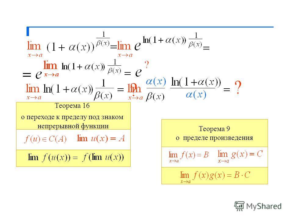 Теорема 16 о переходе к пределу под знаком непрерывной функции Теорема 9 о пределе произведения