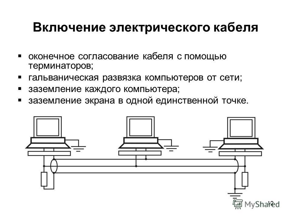 12 Включение электрического кабеля оконечное согласование кабеля с помощью терминаторов; гальваническая развязка компьютеров от сети; заземление каждого компьютера; заземление экрана в одной единственной точке.