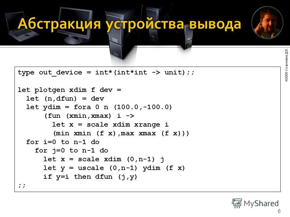 ©2008 Сошников Д.В. 6 type out_device = int*(int*int -> unit);; let plotgen xdim f dev = let (n,dfun) = dev let ydim = fora 0 n (100.0,-100.0) (fun (xmin,xmax) i -> let x = scale xdim xrange i (min xmin (f x),max xmax (f x))) for i=0 to n-1 do for j=
