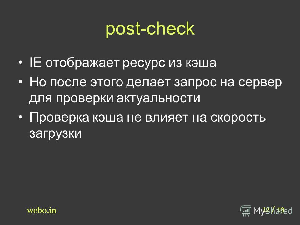 post-check 12 / 19 webo.in IE отображает ресурс из кэша Но после этого делает запрос на сервер для проверки актуальности Проверка кэша не влияет на скорость загрузки