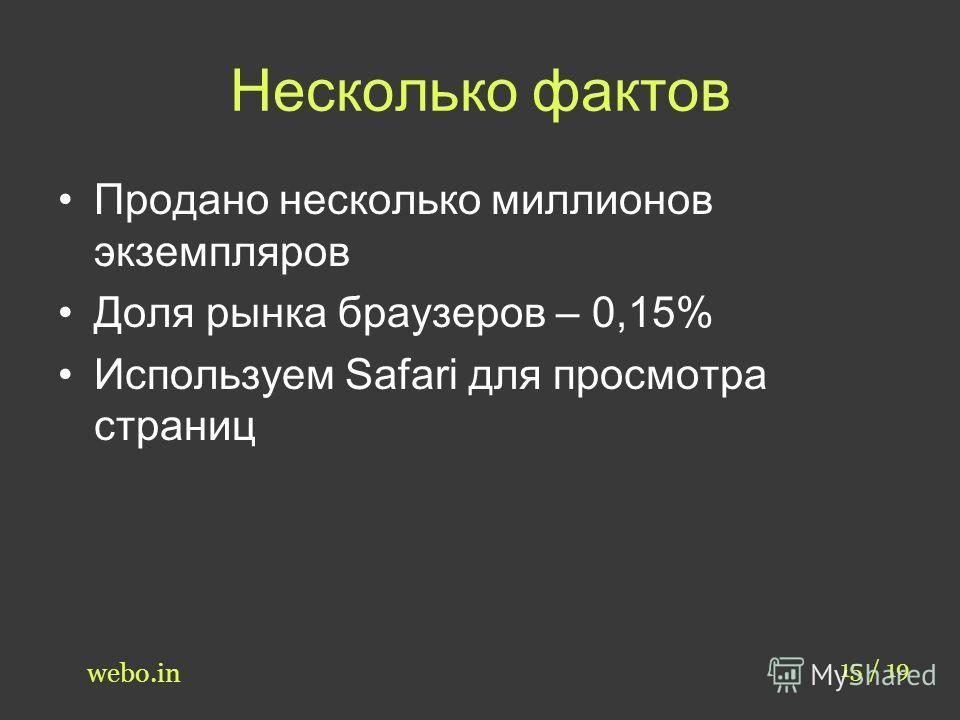 Несколько фактов Продано несколько миллионов экземпляров Доля рынка браузеров – 0,15% Используем Safari для просмотра страниц 15 / 19 webo.in