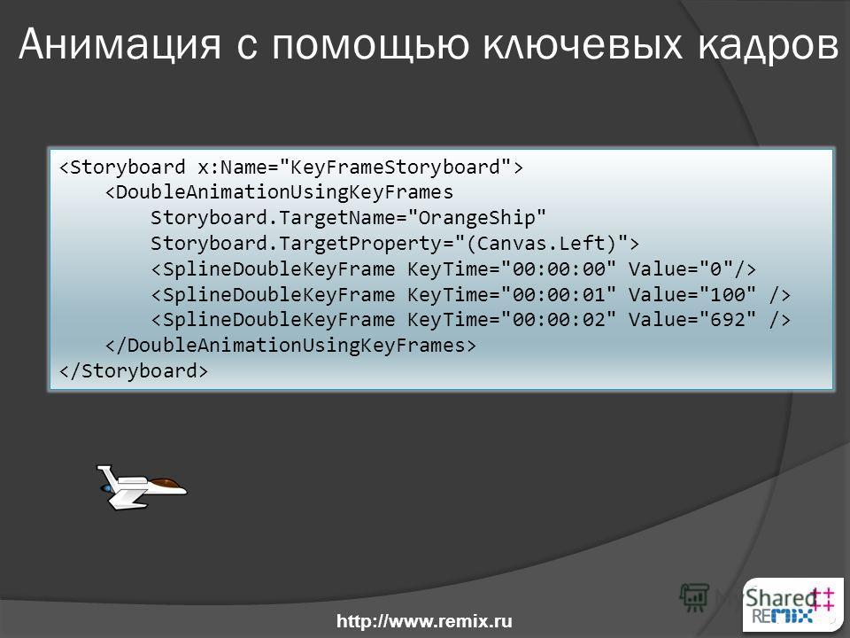 Анимация с помощью ключевых кадров  http://www.remix.ru