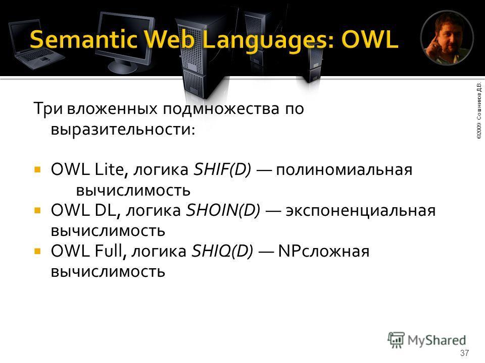 ©2009 Сошников Д.В. 37 Три вложенных подмножества по выразительности: OWL Lite, логика SHIF(D) полиномиальная вычислимость OWL DL, логика SHOIN(D) экспоненциальная вычислимость OWL Full, логика SHIQ(D) NPсложная вычислимость