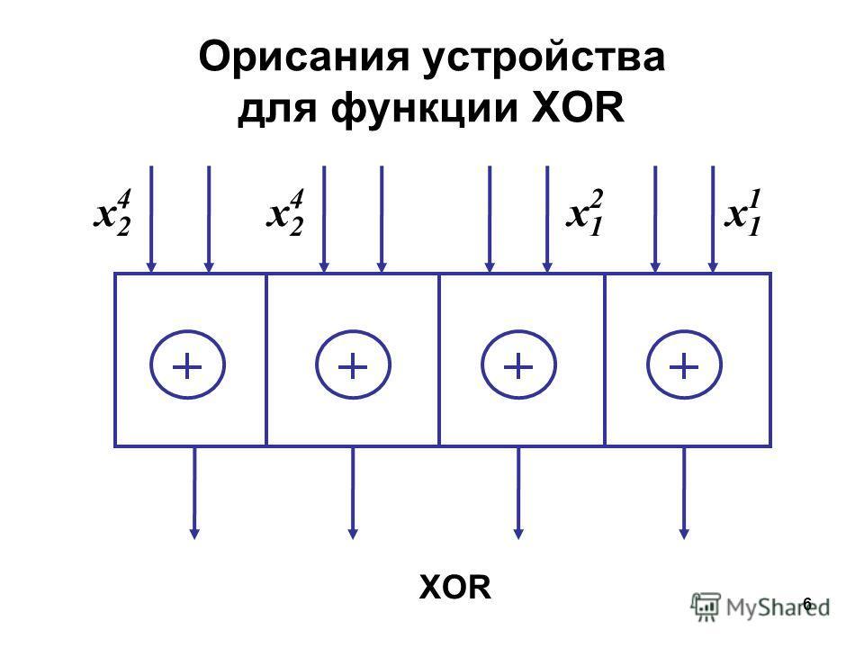 6 XOR Орисания устройства для функции XOR x2x2 4 x2x2 4 x1x1 2 x1x1 1