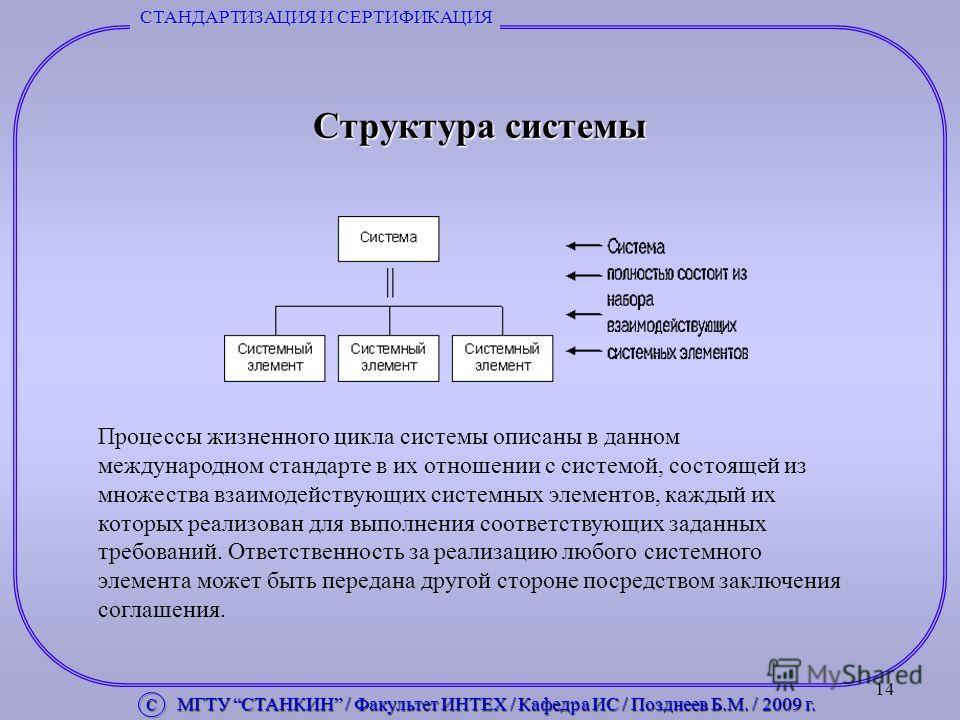 14 СТАНДАРТИЗАЦИЯ И СЕРТИФИКАЦИЯ Структура системы Процессы жизненного цикла системы описаны в данном международном стандарте в их отношении с системой, состоящей из множества взаимодействующих системных элементов, каждый их которых реализован для вы