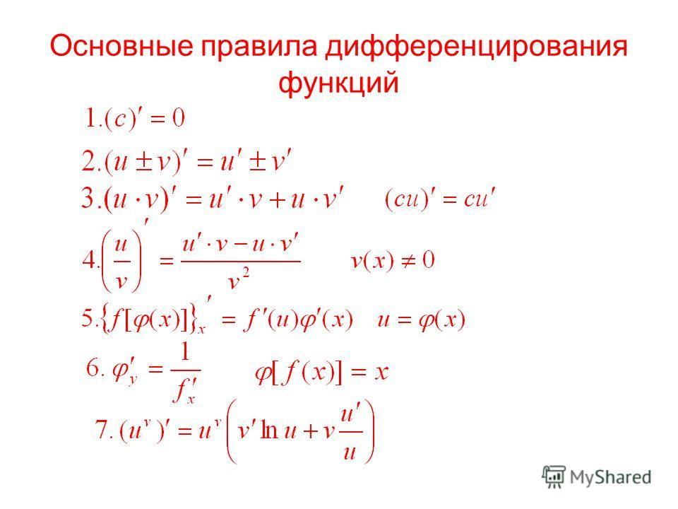 Основные правила дифференцирования функций