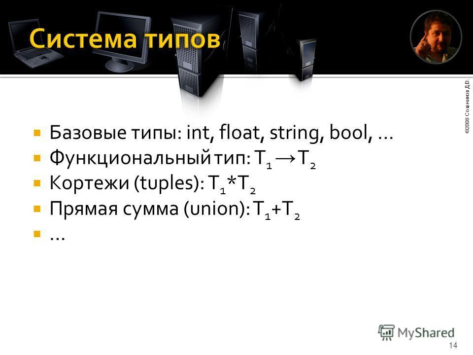 ©2008 Сошников Д.В. 14 Базовые типы: int, float, string, bool, … Функциональный тип: T 1 T 2 Кортежи (tuples): T 1 *T 2 Прямая сумма (union): T 1 +T 2 …