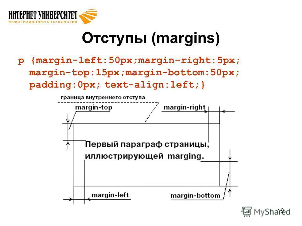 19 Отступы (margins) p {margin-left:50px;margin-right:5px; margin-top:15px;margin-bottom:50px; padding:0px; text-align:left;}