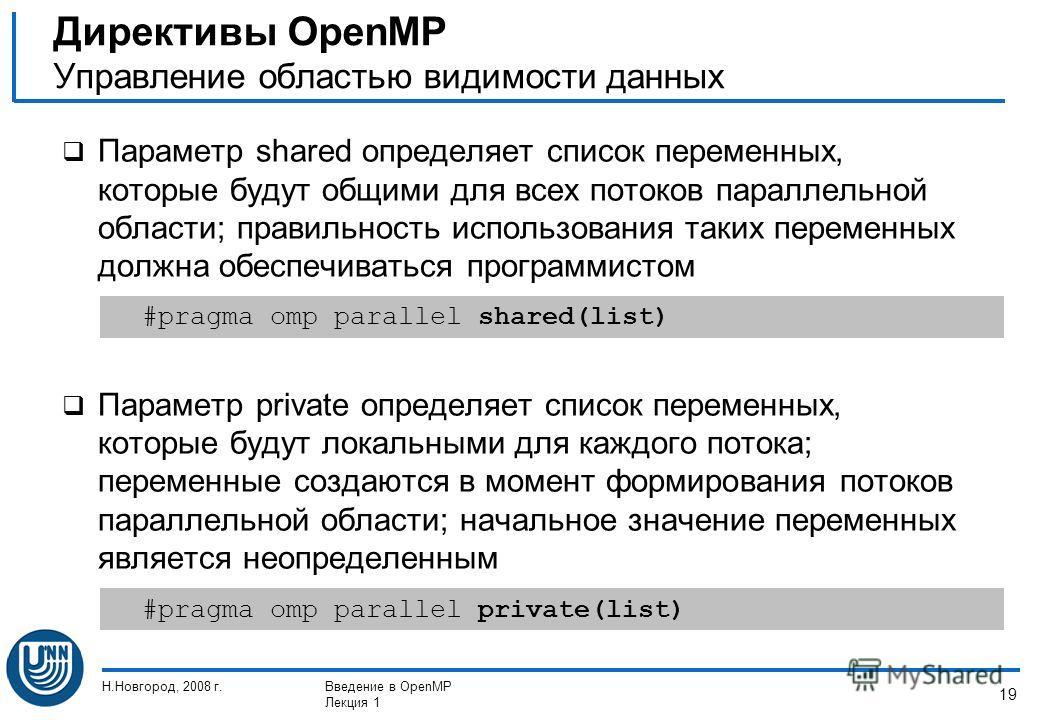 Н.Новгород, 2008 г.Введение в OpenMP Лекция 1 19 Параметр shared определяет список переменных, которые будут общими для всех потоков параллельной области; правильность использования таких переменных должна обеспечиваться программистом Параметр privat