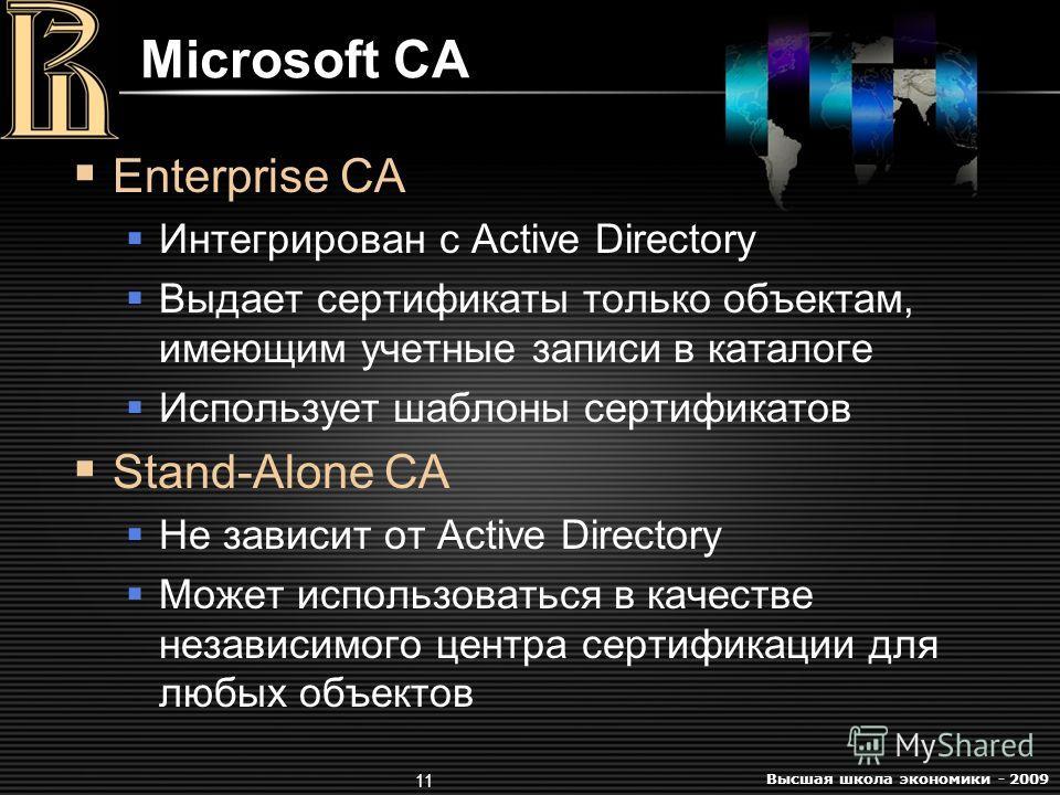 Высшая школа экономики - 2009 11 Microsoft CA Enterprise CA Интегрирован с Active Directory Выдает сертификаты только объектам, имеющим учетные записи в каталоге Использует шаблоны сертификатов Stand-Alone CA Не зависит от Active Directory Может испо