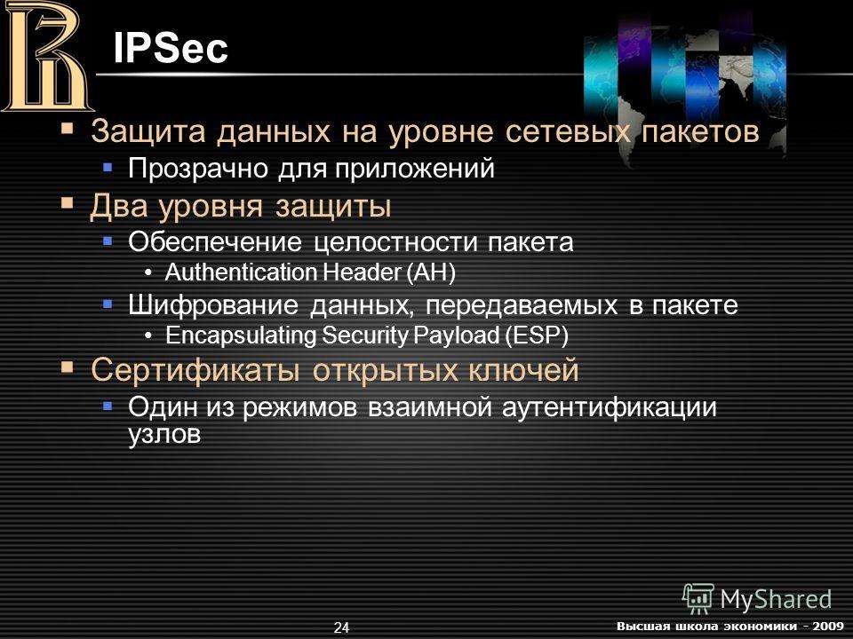 Высшая школа экономики - 2009 24 IPSec Защита данных на уровне сетевых пакетов Прозрачно для приложений Два уровня защиты Обеспечение целостности пакета Authentication Header (AH) Шифрование данных, передаваемых в пакете Encapsulating Security Payloa