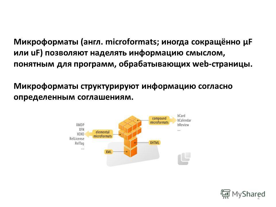 Микроформаты (англ. microformats; иногда сокращённо μF или uF) позволяют наделять информацию смыслом, понятным для программ, обрабатывающих web-страницы. Микроформаты структурируют информацию согласно определенным соглашениям. 2