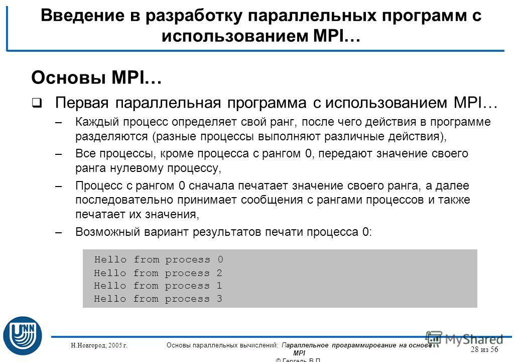 Н.Новгород, 2005 г. Основы параллельных вычислений: Параллельное программирование на основе MPI © Гергель В.П. 28 из 56 Введение в разработку параллельных программ с использованием MPI… Основы MPI… Первая параллельная программа с использованием MPI…