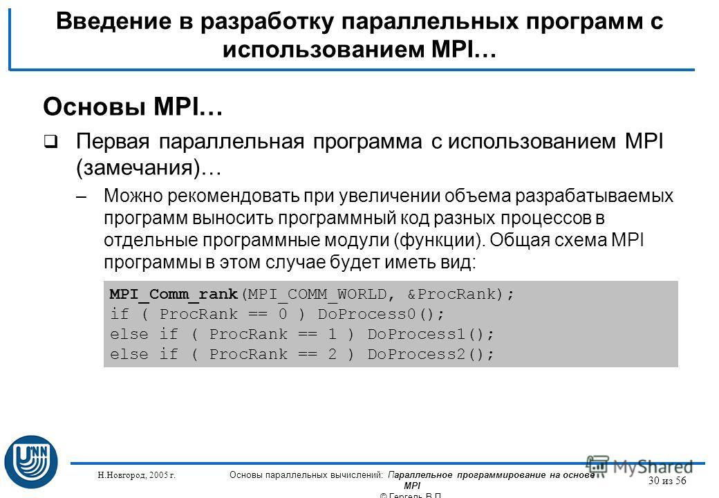 Н.Новгород, 2005 г. Основы параллельных вычислений: Параллельное программирование на основе MPI © Гергель В.П. 30 из 56 Введение в разработку параллельных программ с использованием MPI… Основы MPI… Первая параллельная программа с использованием MPI (
