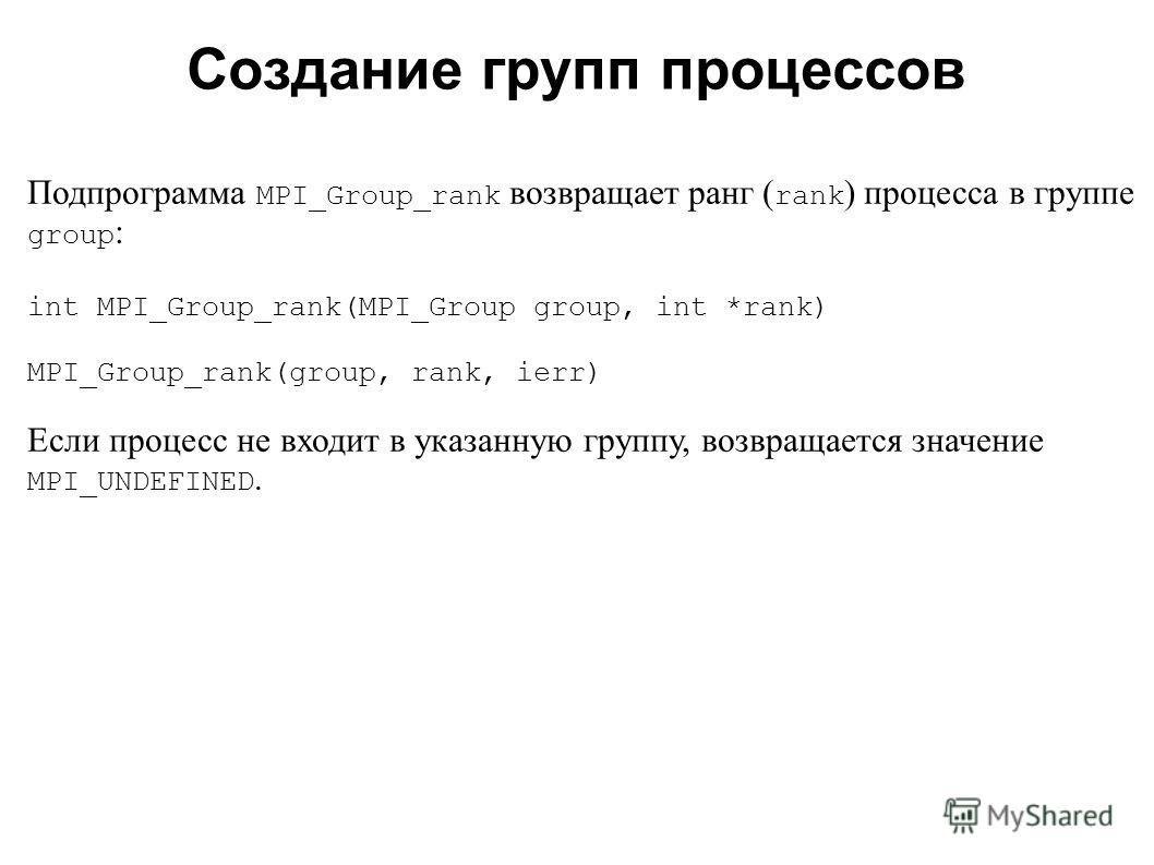 2008 Подпрограмма MPI_Group_rank возвращает ранг ( rank ) процесса в группе group : int MPI_Group_rank(MPI_Group group, int *rank) MPI_Group_rank(group, rank, ierr) Если процесс не входит в указанную группу, возвращается значение MPI_UNDEFINED. Созда