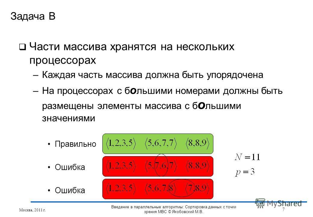 Части массива хранятся на нескольких процессорах –Каждая часть массива должна быть упорядочена –На процессорах с б о льшими номерами должны быть размещены элементы массива с б о льшими значениями Правильно Ошибка Задача B Москва, 2011 г. 7 Введение в