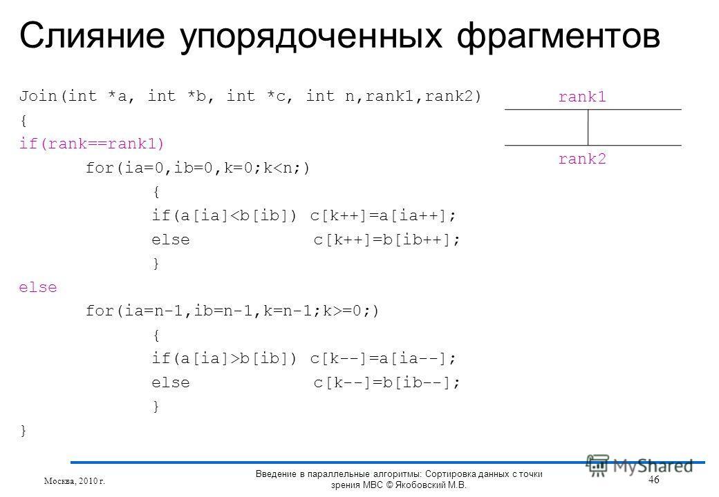 Join(int *a, int *b, int *c, int n,rank1,rank2) { if(rank==rank1) for(ia=0,ib=0,k=0;kb[ib]) c[k--]=a[ia--]; else c[k--]=b[ib--]; } Слияние упорядоченных фрагментов Москва, 2010 г. rank1 rank2 46 Введение в параллельные алгоритмы: Сортировка данных с