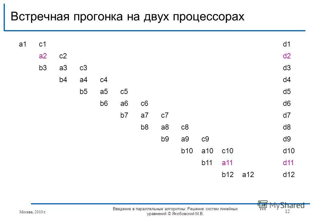 Встречная прогонка на двух процессорах Москва, 2010 г. 12 Введение в параллельные алгоритмы: Решение систем линейных уравнений © Якобовский М.В. a1a1c1d1 a2c2d2 b3a3c3d3 b4a4c4d4 b5a5c5d5 b6a6c6d6 b7a7c7d7 b8a8c8d8 b9a9c9d9 b10a10c10d10 b11a11d11 b12