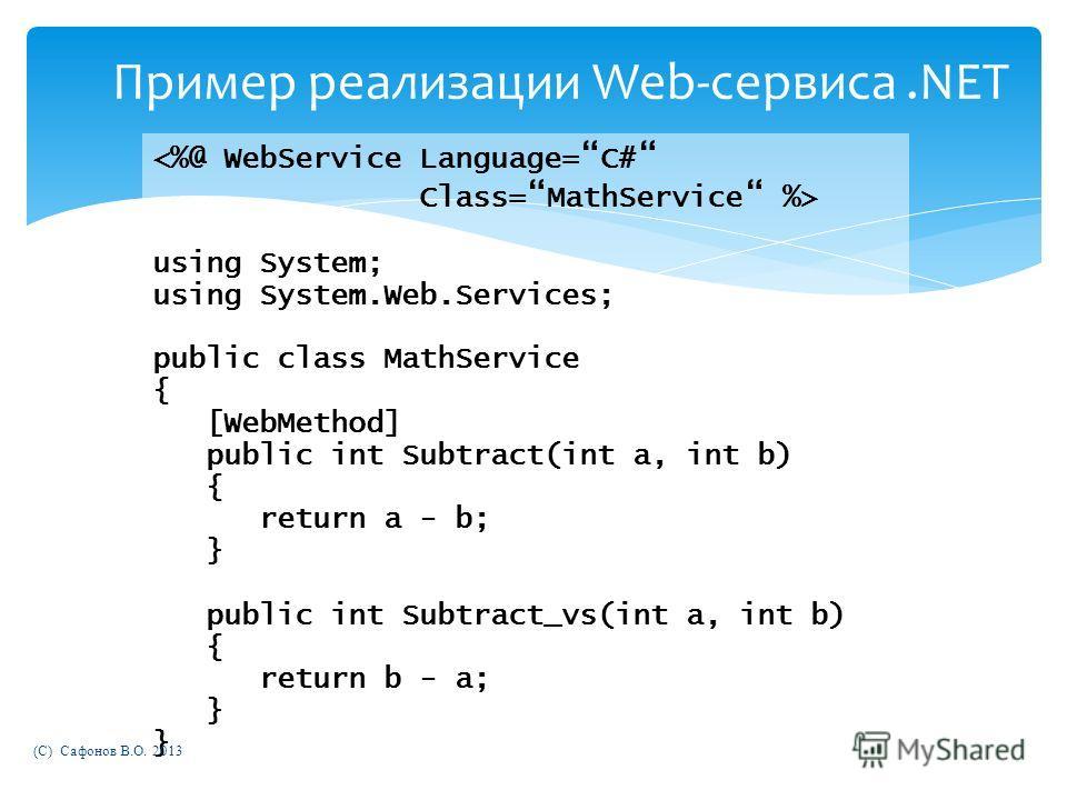 Пример реализации Web-сервиса.NET using System; using System.Web.Services; public class MathService { [WebMethod] public int Subtract(int a, int b) { return a - b; } public int Subtract_vs(int a, int b) { return b - a; } } (C) Сафонов В.О. 2013