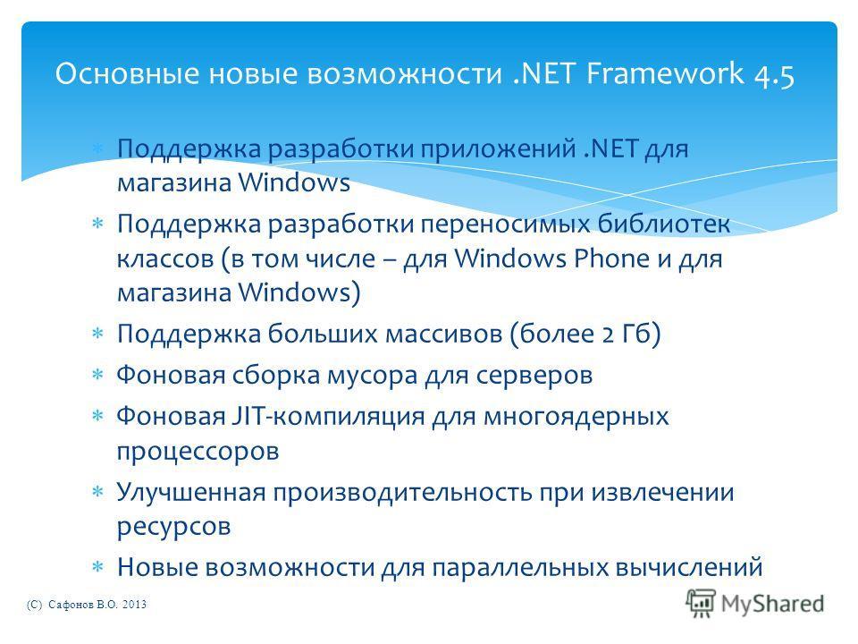 Поддержка разработки приложений.NET для магазина Windows Поддержка разработки переносимых библиотек классов (в том числе – для Windows Phone и для магазина Windows) Поддержка больших массивов (более 2 Гб) Фоновая сборка мусора для серверов Фоновая JI