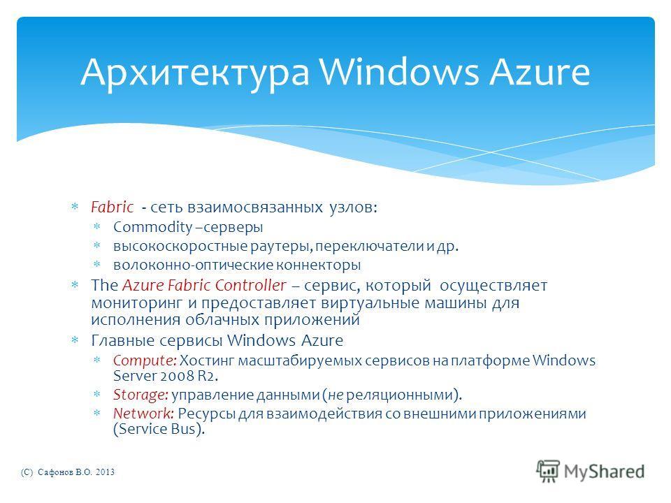 Архитектура Windows Azure Fabric - сеть взаимосвязанных узлов: Commodity –серверы высокоскоростные раутеры, переключатели и др. волоконно-оптические коннекторы The Azure Fabric Controller – сервис, который осуществляет мониторинг и предоставляет вирт