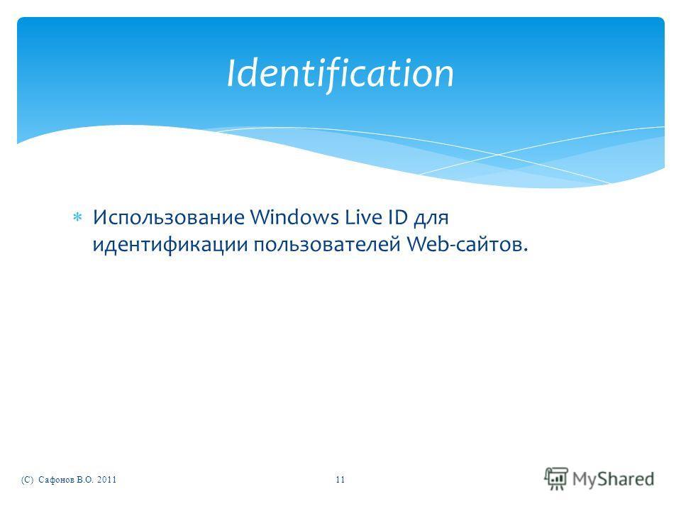 Использование Windows Live ID для идентификации пользователей Web-сайтов. (C) Сафонов В.О. 201111 Identification
