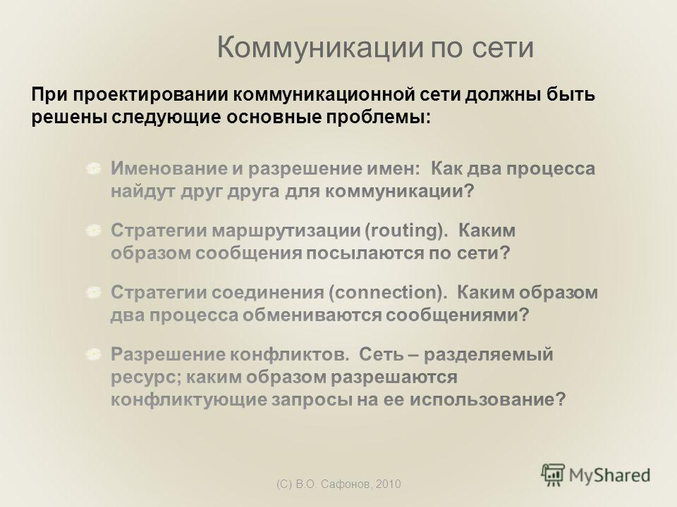 (C) В.О. Сафонов, 2010 Коммуникации по сети При проектировании коммуникационной сети должны быть решены следующие основные проблемы: