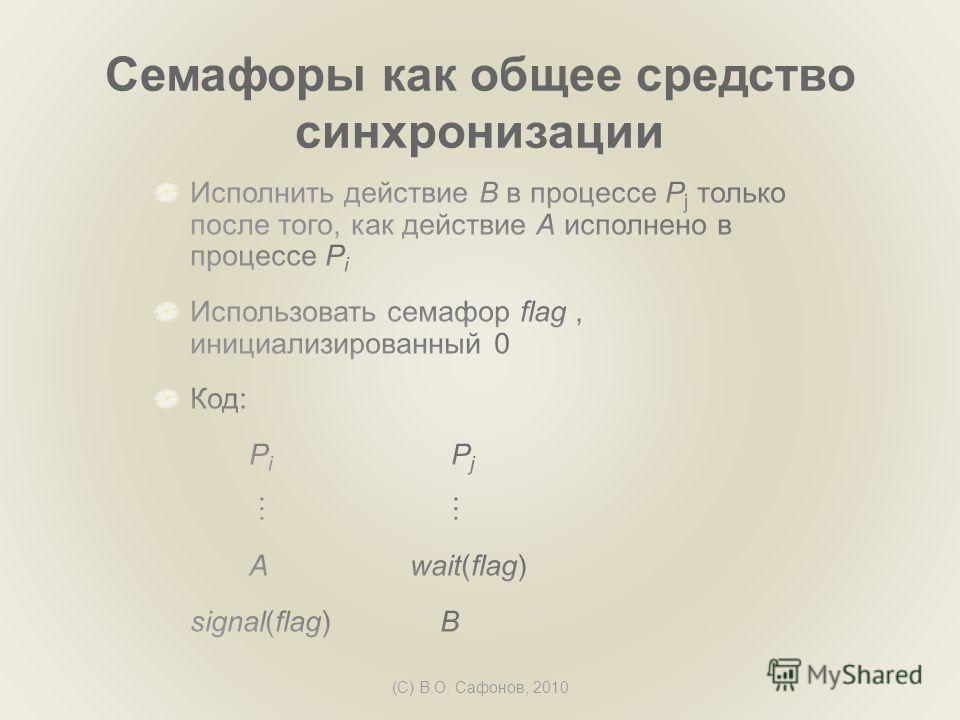 (C) В.О. Сафонов, 2010 Семафоры как общее средство синхронизации