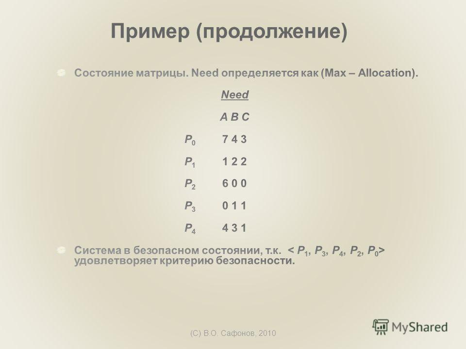 (C) В.О. Сафонов, 2010 Пример (продолжение)