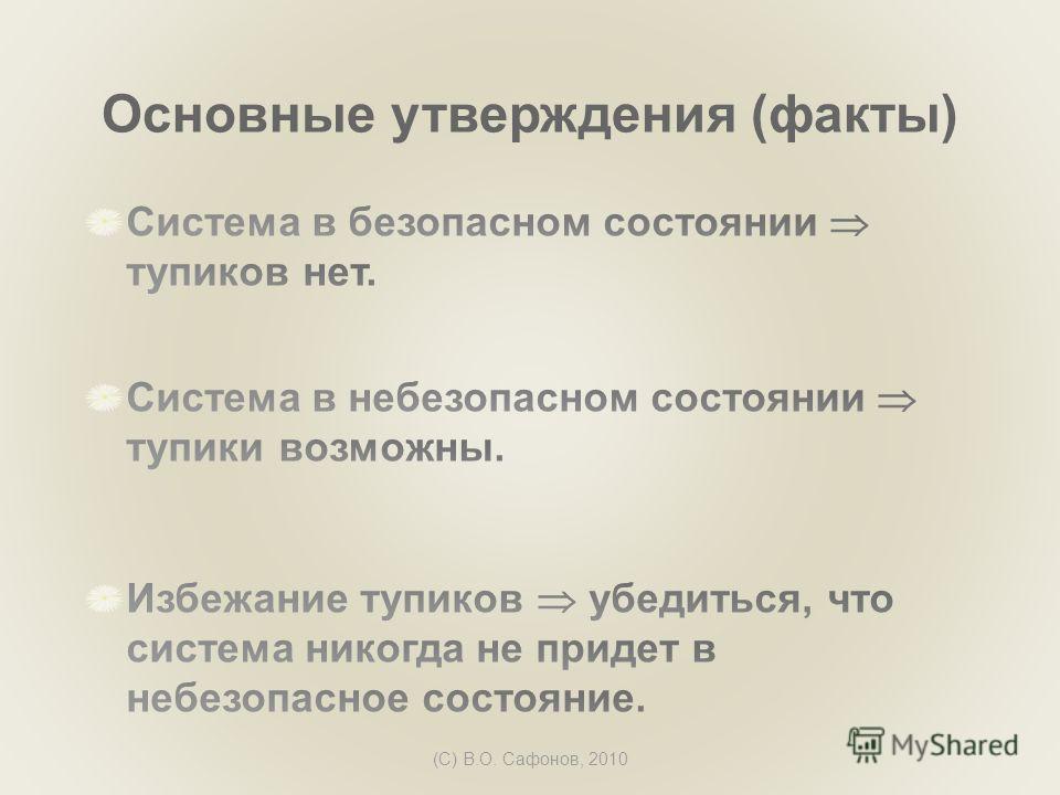 (C) В.О. Сафонов, 2010 Основные утверждения (факты)