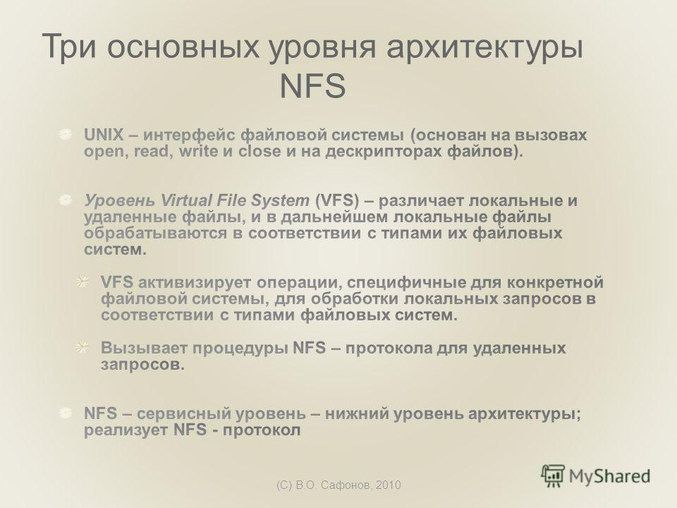 (C) В.О. Сафонов, 2010 Три основных уровня архитектуры NFS
