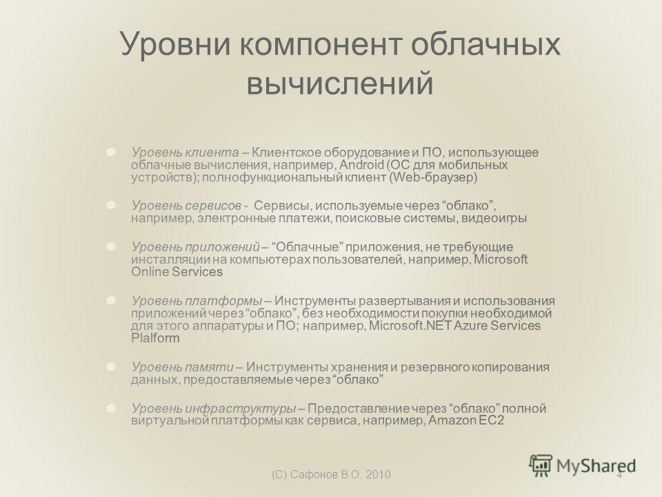 Уровни компонент облачных вычислений (C) Сафонов В.О. 20104