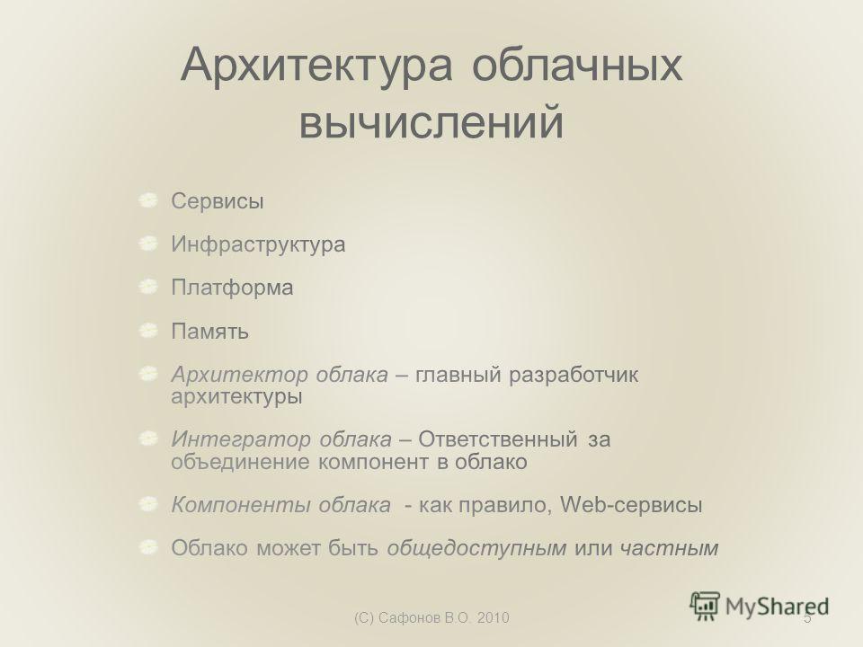 Архитектура облачных вычислений (C) Сафонов В.О. 20105