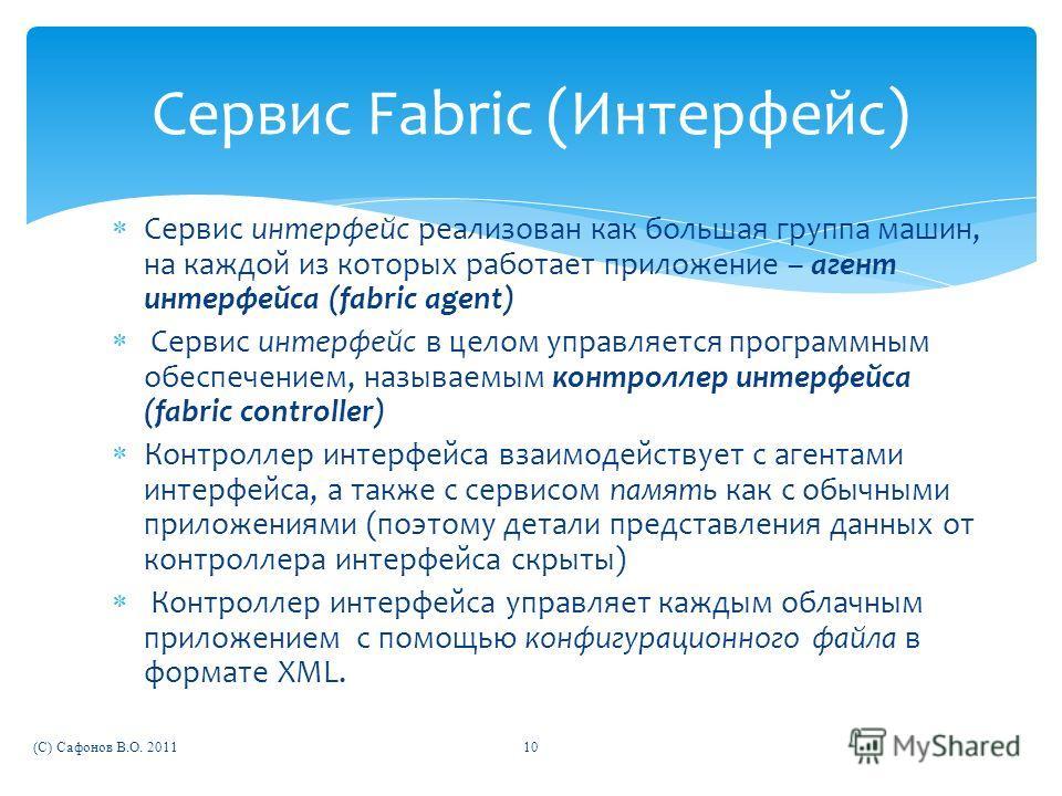Сервис интерфейс реализован как большая группа машин, на каждой из которых работает приложение – агент интерфейса (fabric agent) Сервис интерфейс в целом управляется программным обеспечением, называемым контроллер интерфейса (fabric controller) Контр