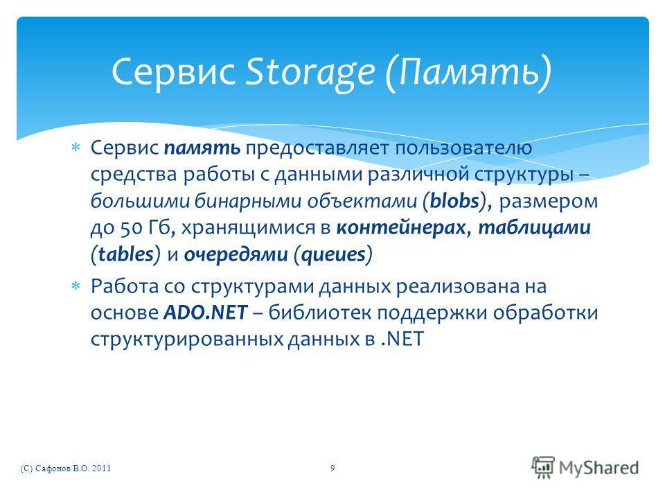 Сервис память предоставляет пользователю средства работы с данными различной структуры – большими бинарными объектами (blobs), размером до 50 Гб, хранящимися в контейнерах, таблицами (tables) и очередями (queues) Работа со структурами данных реализов