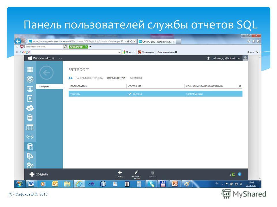 (C) Сафонов В.О. 2013 Панель пользователей службы отчетов SQL