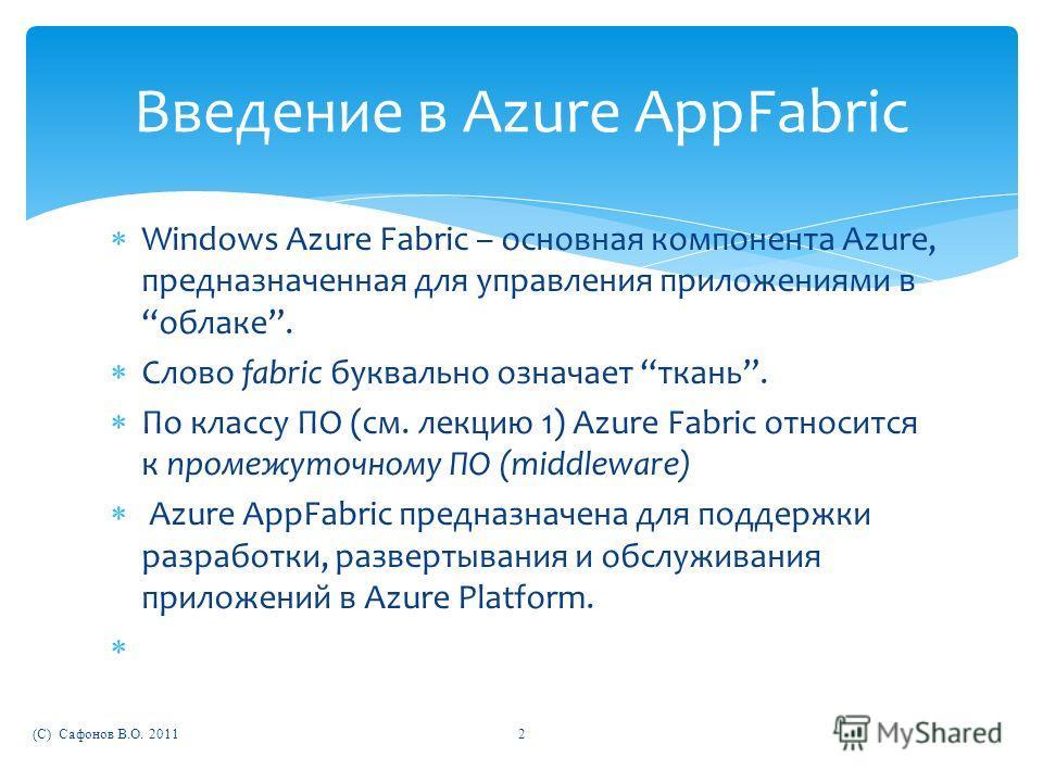 Windows Azure Fabric – основная компонента Azure, предназначенная для управления приложениями в облаке. Слово fabric буквально означает ткань. По классу ПО (см. лекцию 1) Azure Fabric относится к промежуточному ПО (middleware) Azure AppFabric предназ