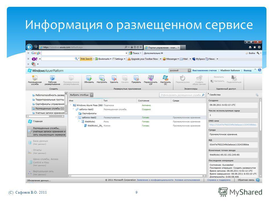 (C) Сафонов В.О. 20119 Информация о размещенном сервисе