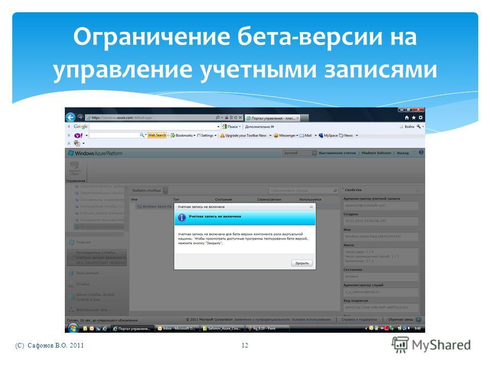 (C) Сафонов В.О. 201112 Ограничение бета-версии на управление учетными записями