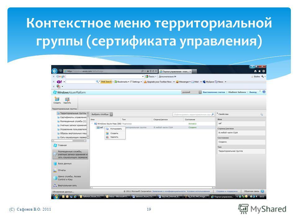 (C) Сафонов В.О. 201119 Контекстное меню территориальной группы (сертификата управления)