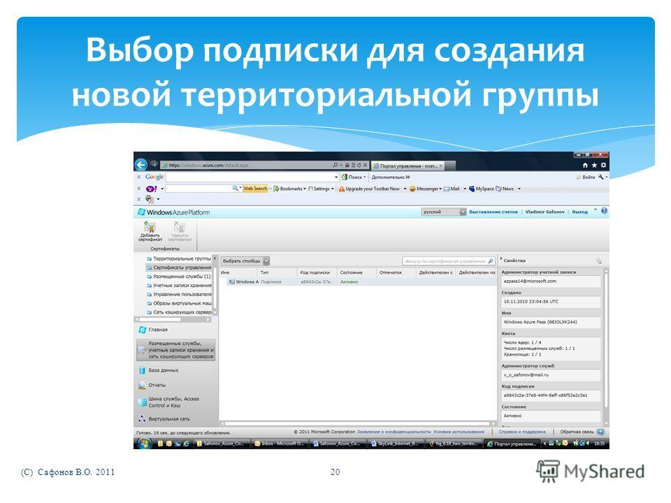 (C) Сафонов В.О. 201120 Выбор подписки для создания новой территориальной группы
