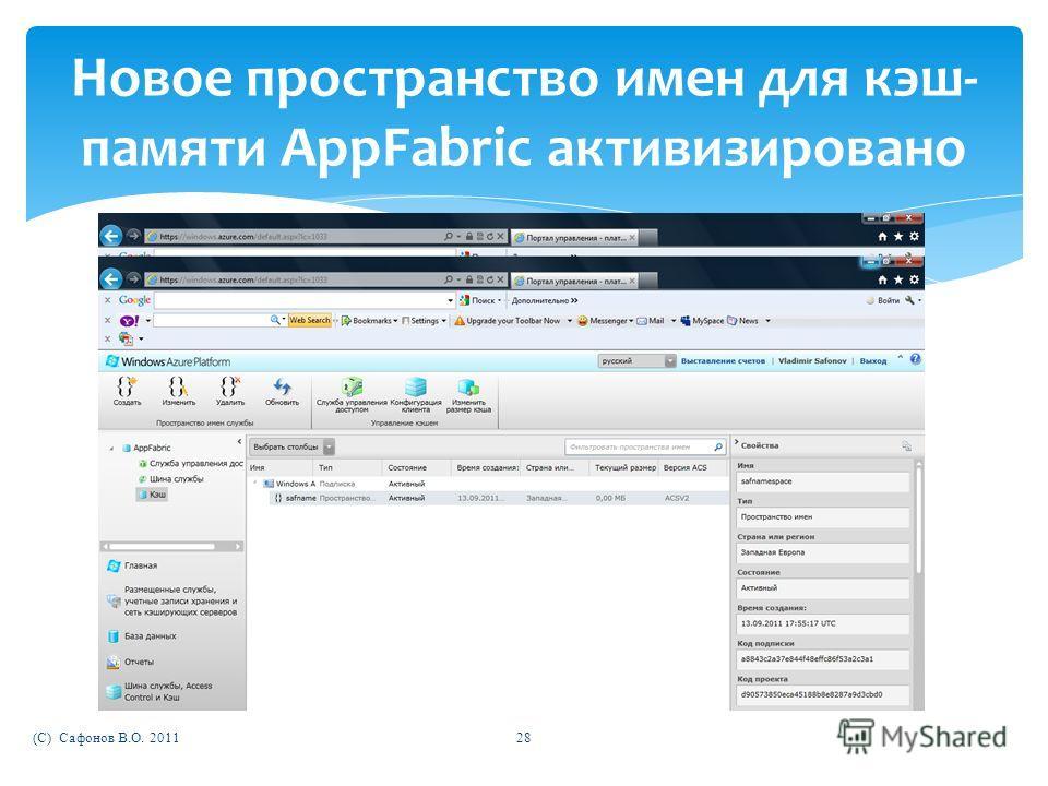 (C) Сафонов В.О. 201128 Новое пространство имен для кэш- памяти AppFabric активизировано