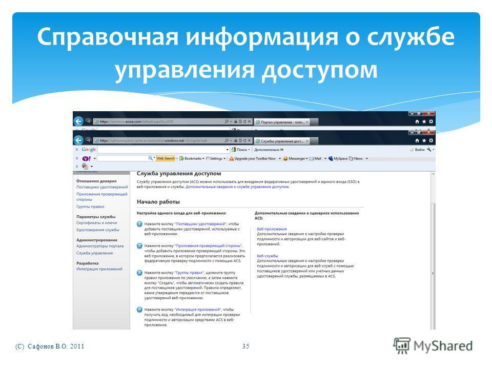 (C) Сафонов В.О. 201135 Справочная информация о службе управления доступом