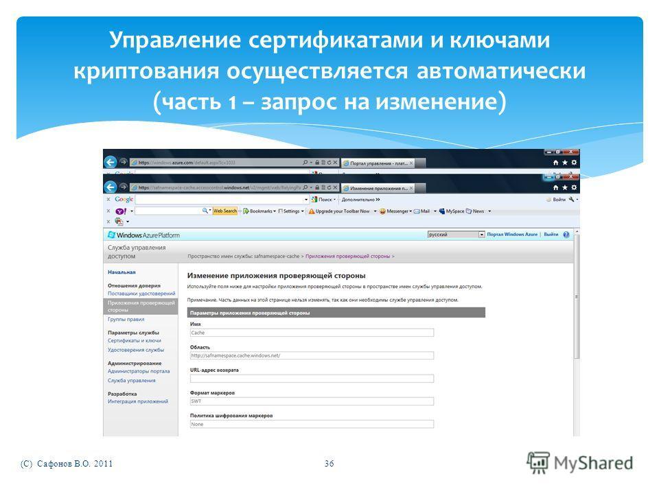 (C) Сафонов В.О. 201136 Управление сертификатами и ключами криптования осуществляется автоматически (часть 1 – запрос на изменение)