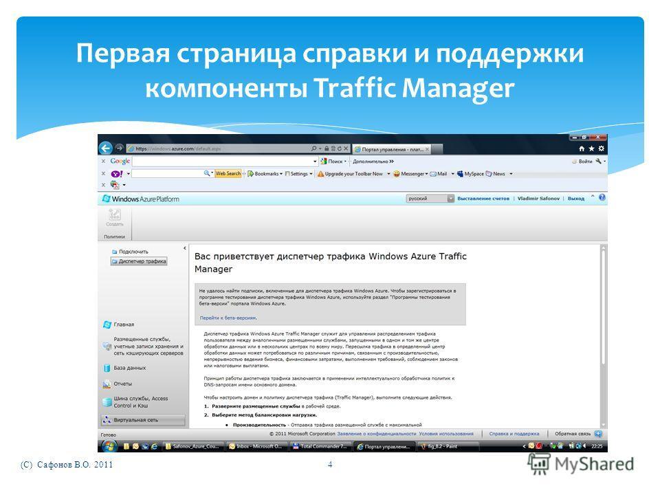 (C) Сафонов В.О. 20114 Первая страница справки и поддержки компоненты Traffic Manager